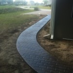 Running bond brick stamped concrete