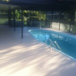 "Newly textured pool deck in southeast Orlando in our ""Kahlua"" color."